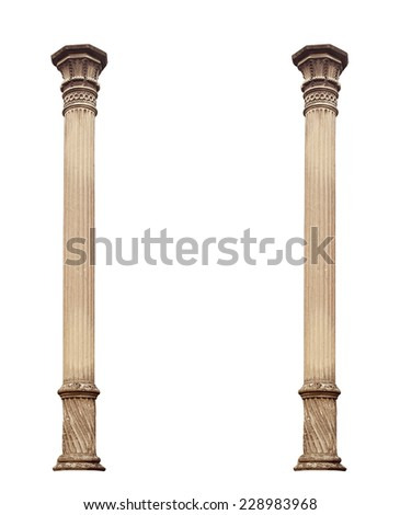 Ionic Column isolated. Clipping path. - stock photo