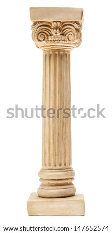 Ionic column on white background