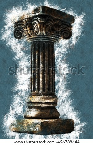 Ionic column on white background. Vintage painting, background illustration, beautiful picture, adstract texture - stock photo