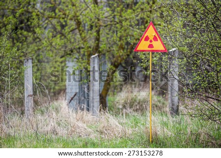 Ionizing Radiation sign near Chernobyl nuclear power plant zone of alienation, Ukraine - stock photo