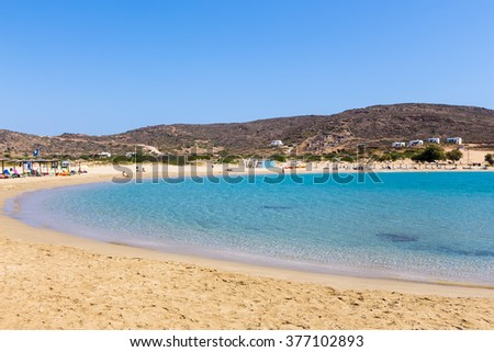 Ios, Greece - September 19, 2015:  view of the beaches of Greek island of Ios island, Cyclades, Greece. Ios is well known as the party island with the lively atmosphere and the endless fun.