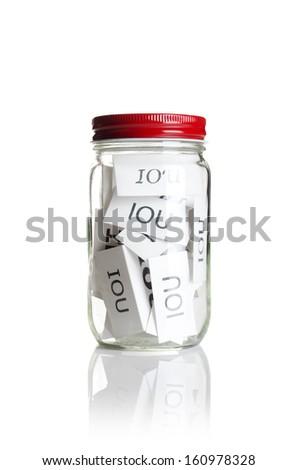 IOUÂ?Â?s in a jar  - stock photo