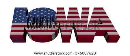 Iowa Caucus flag text illustration - stock photo