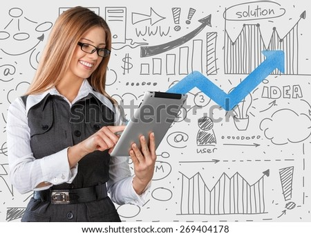 Ipad. Concept of using wireless technology by woman, video call, typing message on tablet. Incoming call. interface of tablet pc screen - stock photo