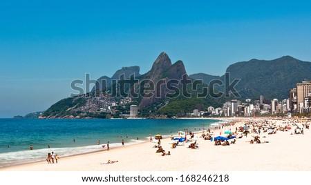 Ipanema Beach on the Sunny Summer Day, Rio de Janeiro, Brazil - stock photo