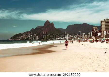 Ipanema, Leblon and the Mountain Dois Irmao in Rio de Janeiro. Brazil - stock photo