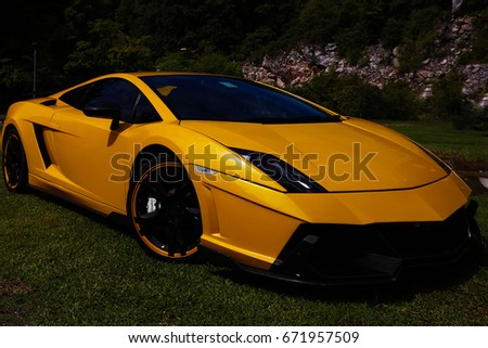 Ipoh,Malaysia   13.11.2016: A Yellow Lamborghini Aventador At Gunung Lang  Car