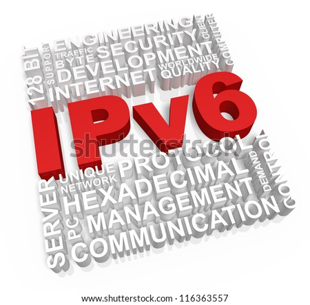 Ipv6 and related words on white background.