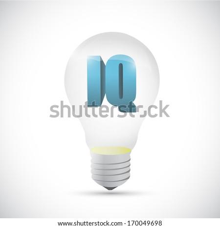 iq idea intelligence light bulb concept. illustration design over a white background - stock photo
