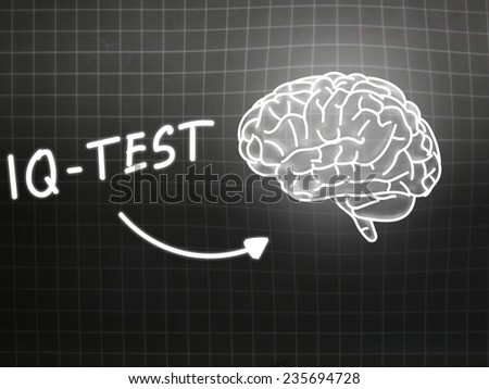 IQ Test  brain background knowledge science blackboard gray light - stock photo