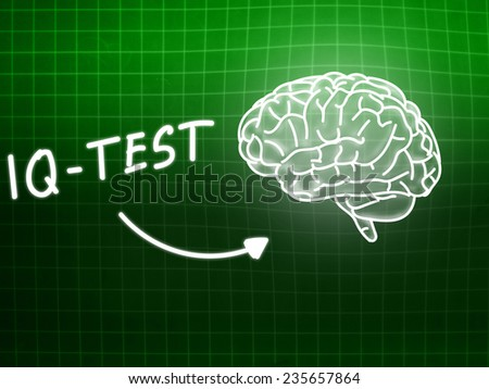 IQ Test  brain background knowledge science blackboard green light - stock photo