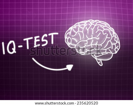 IQ Test  brain background knowledge science blackboard pink light - stock photo