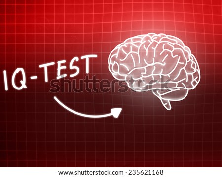 IQ Test  brain background knowledge science blackboard red light - stock photo