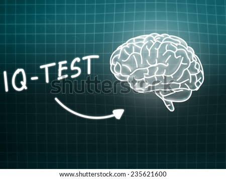 IQ Test  brain background knowledge science blackboard turquoise light - stock photo