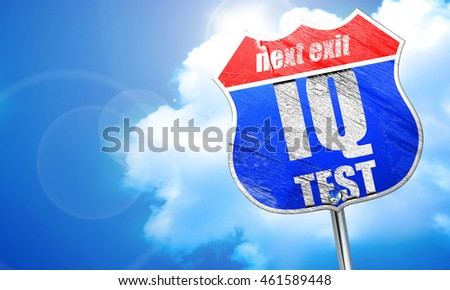 iq test, 3D rendering, blue street sign