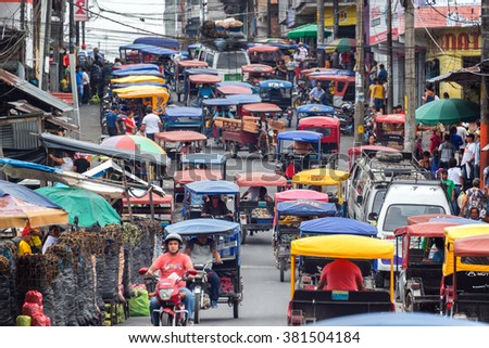 IQUITOS, PERU - MARCH 17: Heavy traffic in the Belen market in Iquitos, Peru on March 17, 2015 - stock photo