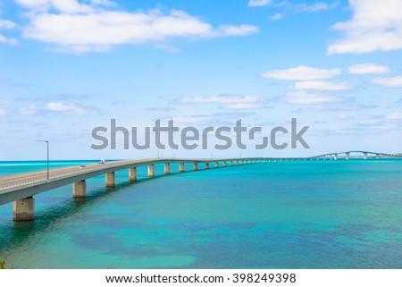 Irabu bridge, Miyako Island in Okinawa - stock photo