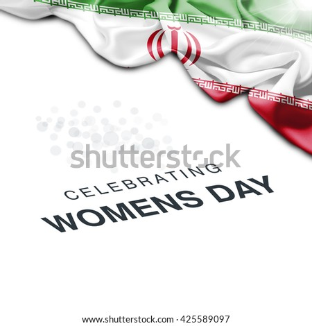 Iran Abstract waving Flag and Plain background with Typography Celebrating Women Day 8th March
