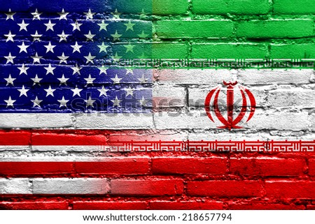 Iran and USA Flag painted on brick wall - stock photo