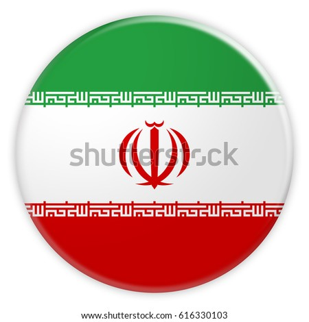 Iran Flag Button, News Concept Badge, 3d illustration on white background