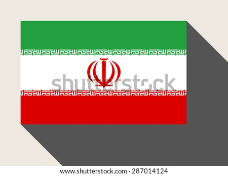 Iran flag in flat web design style. - stock photo