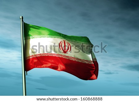 Iran flag waving on the wind - stock photo