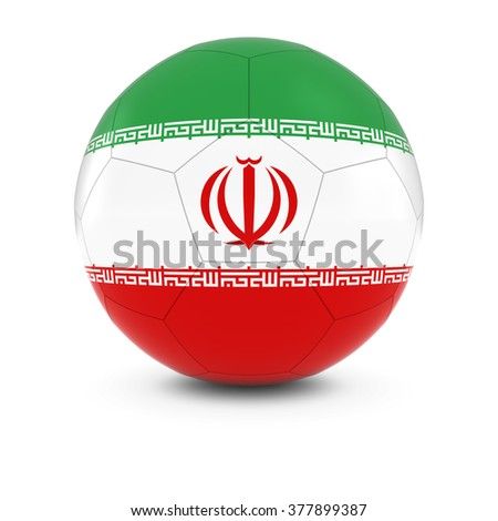 Iran Football - Iranian Flag on Soccer Ball