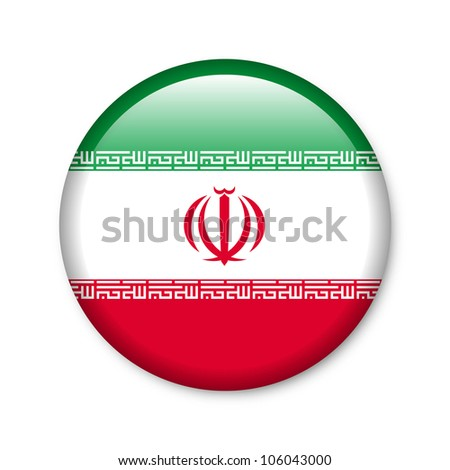 Iran - glossy button with flag