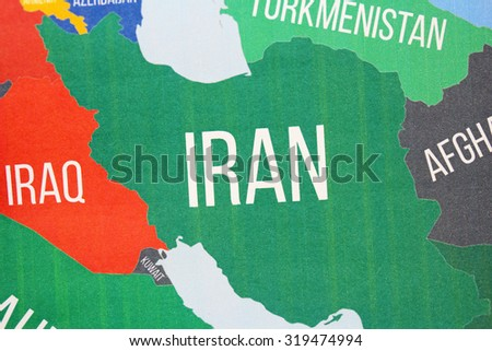 Iran map close up
