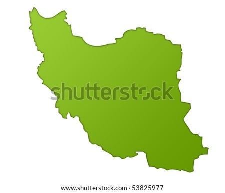 Iran map in gradient green, isolated on white background.