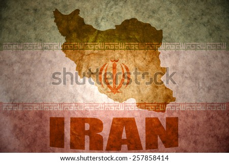 iran map on a vintage iranian flag background - stock photo
