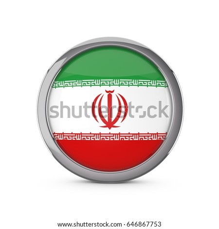 Iran national flag in a glossy circle shape with chrome frame. 3D Rendering