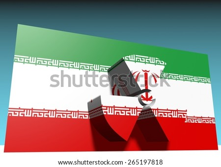 iran national flag with nuclear danger sign - stock photo