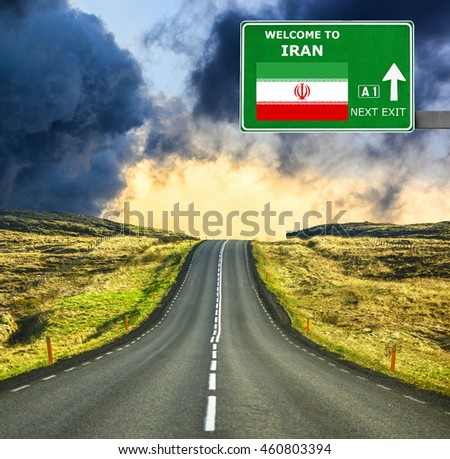 Iran road sign against clear blue sky