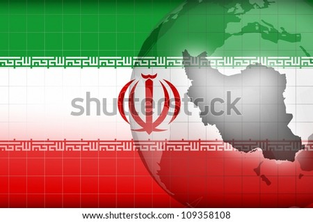 Iranian map and flag background illustration - stock photo