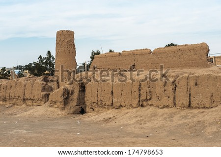 Iranian typical clay fortress. Kashan, Iran