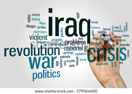 Iraq crisis concept word cloud background - stock photo