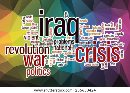 Iraq crisis word cloud concept with abstract background