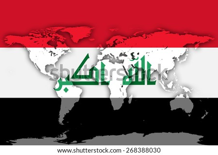 Iraq flag and world map background - stock photo