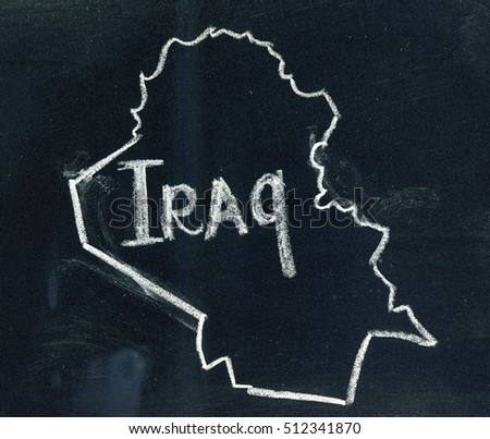Iraq map outline drawn on a blackboard