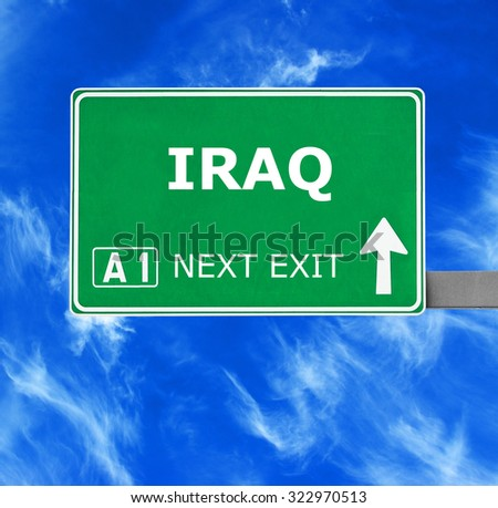 IRAQ road sign against clear blue sky