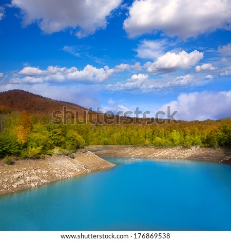 Irati Pantano de Irabia lake swamp in Navarra Pyrenees of Spain - stock photo