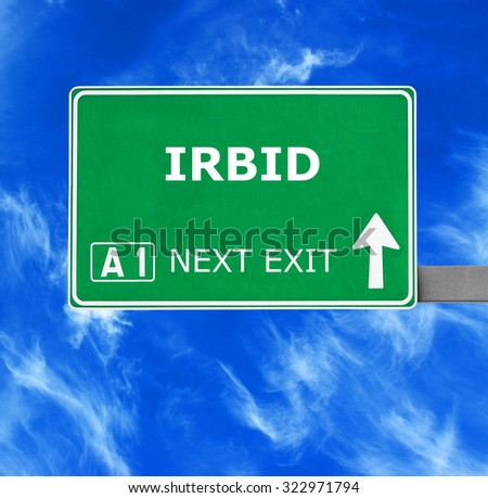 IRBID road sign against clear blue sky