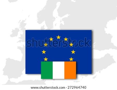 Ireland and European Union Flag with Europe map background - stock photo