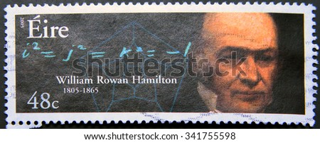 IRELAND - CIRCA 2005: a postage stamp of Ireland showing an image of William Rowan Hamilton - stock photo