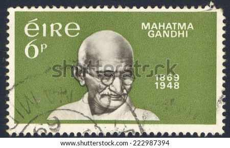 IRELAND - CIRCA 1969: A stamp printed in Ireland from the Birth Centenary of Mahatma Gandhi issue shows Mahatma Gandhi, circa 1969. - stock photo