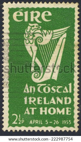 IRELAND - CIRCA 1953: A stamp printed in Ireland shows An Tostal Ireland at home, circa 1953