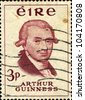 IRELAND - CIRCA 1959 : A stamp printed in Ireland shows Arthur Guinness - Irish brewer and the founder of the Guinness brewery, circa 1969 - stock photo