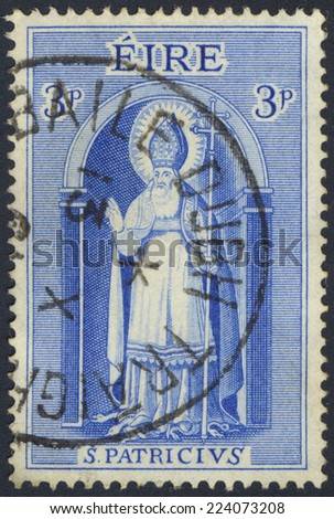IRELAND-CIRCA 1961:A stamp printed in Ireland shows image of Saint Patrick, circa 1961. - stock photo