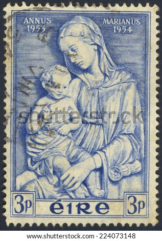 IRELAND - CIRCA 1954: A stamp printed in Ireland shows Madonna by della Robbia, Marian Year, circa 1954 - stock photo